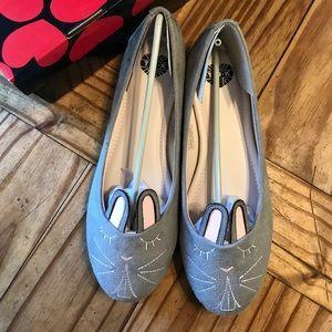 tuk Shoes - Grey Bunny Flats, size 8